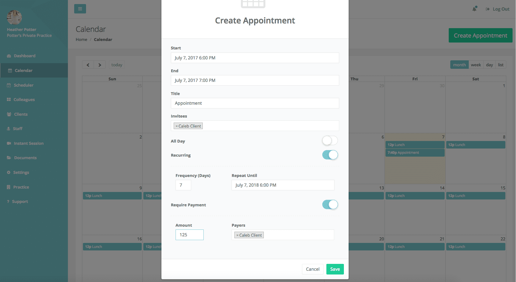 Appointment Screen 1