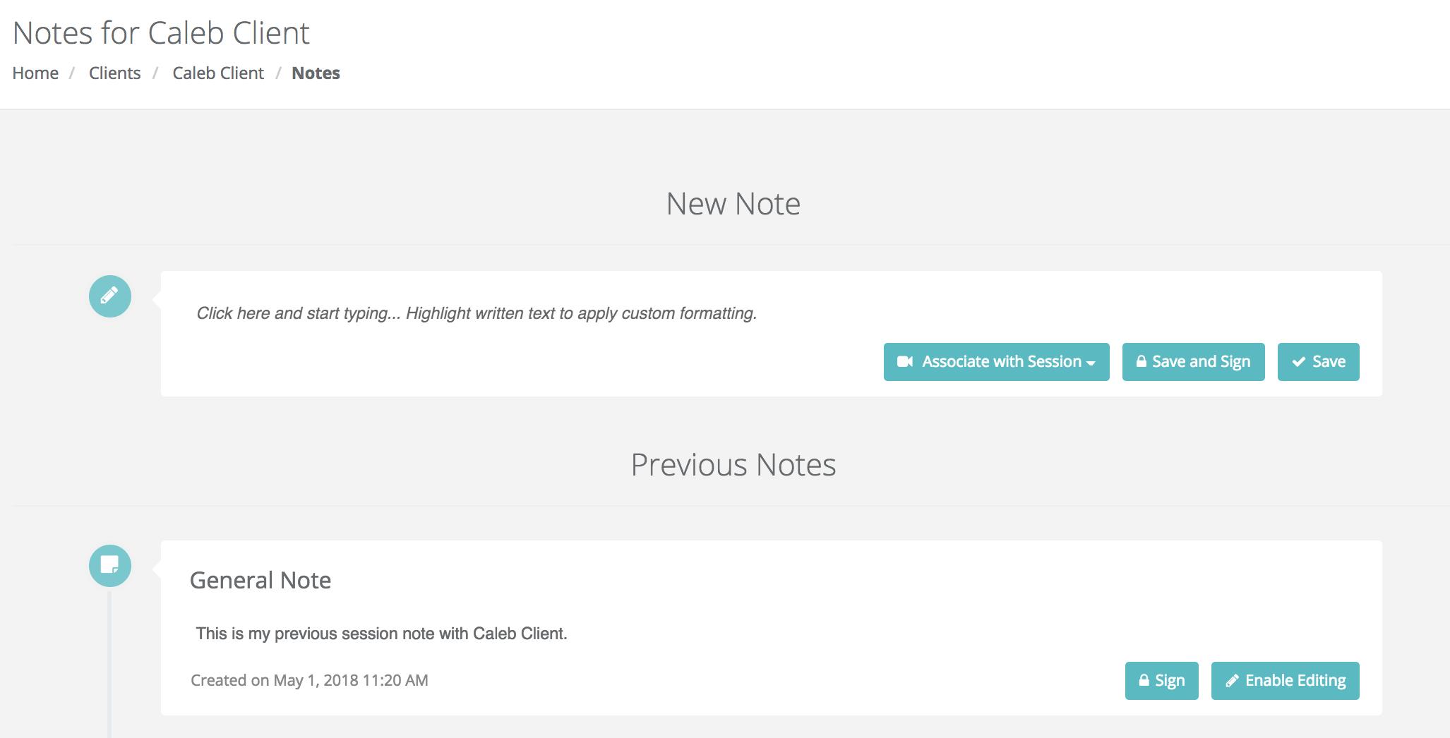 Notes screen